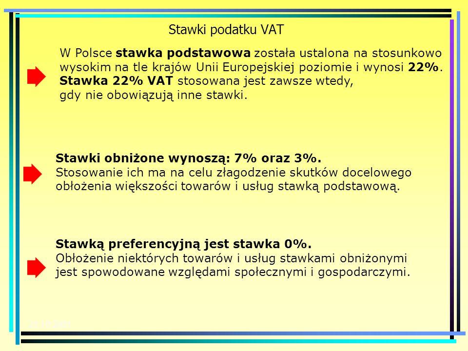 20.10.2003 Stawki podatku VAT 22% 7% 3% 0% 12% Stawki w podatku od towarów i usług mają postać procentową. Wyróżnia się stawki: podstawową, obniżone o