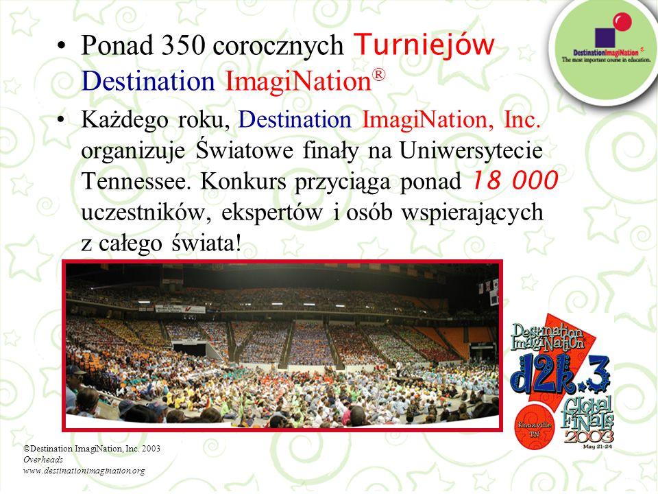 ® Ponad 350 corocznych Turniejów Destination ImagiNation ® Każdego roku, Destination ImagiNation, Inc. organizuje Światowe finały na Uniwersytecie Ten