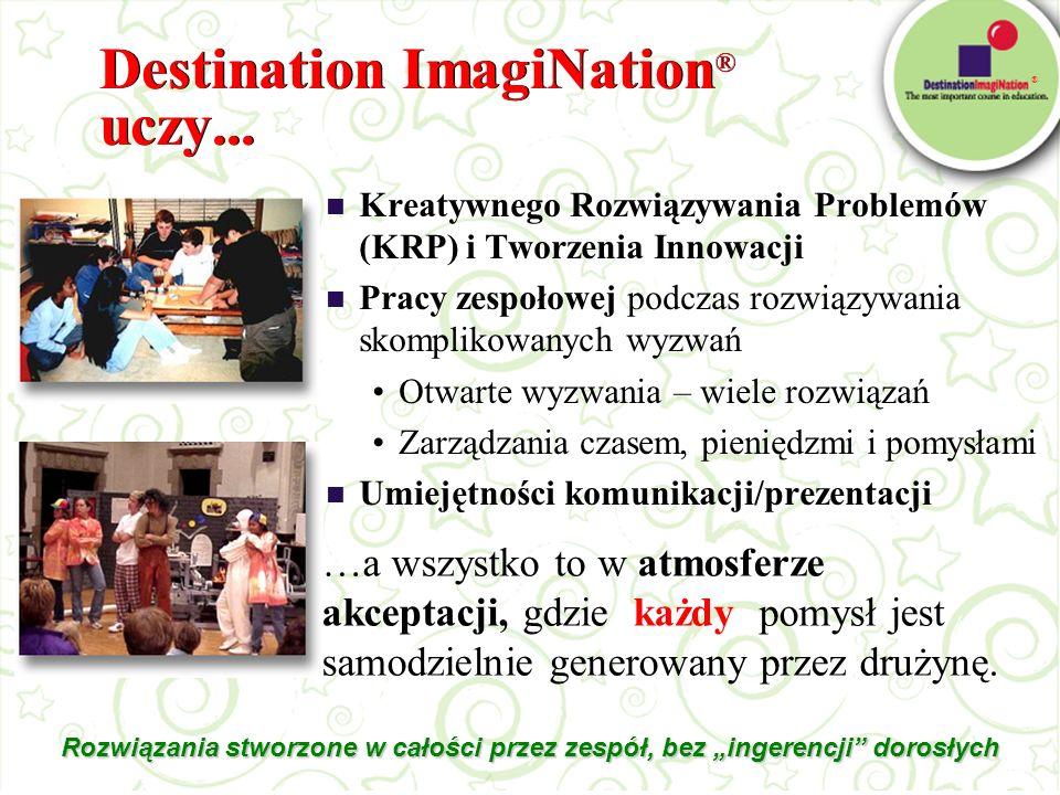 ® Destination ImagiNation ® uczy... Rozwiązania stworzone w całości przez zespół, bez ingerencji dorosłych Kreatywnego Rozwiązywania Problemów (KRP) i