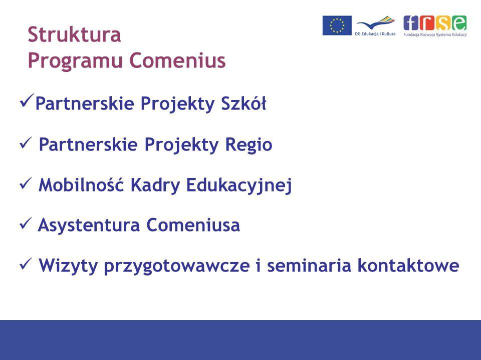 Struktura Programu Comenius Partnerskie Projekty Szkół Partnerskie Projekty Regio Mobilność Kadry Edukacyjnej Asystentura Comeniusa Wizyty przygotowaw