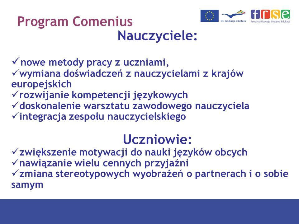 Program Comenius Nauczyciele: nowe metody pracy z uczniami, wymiana doświadczeń z nauczycielami z krajów europejskich rozwijanie kompetencji językowyc