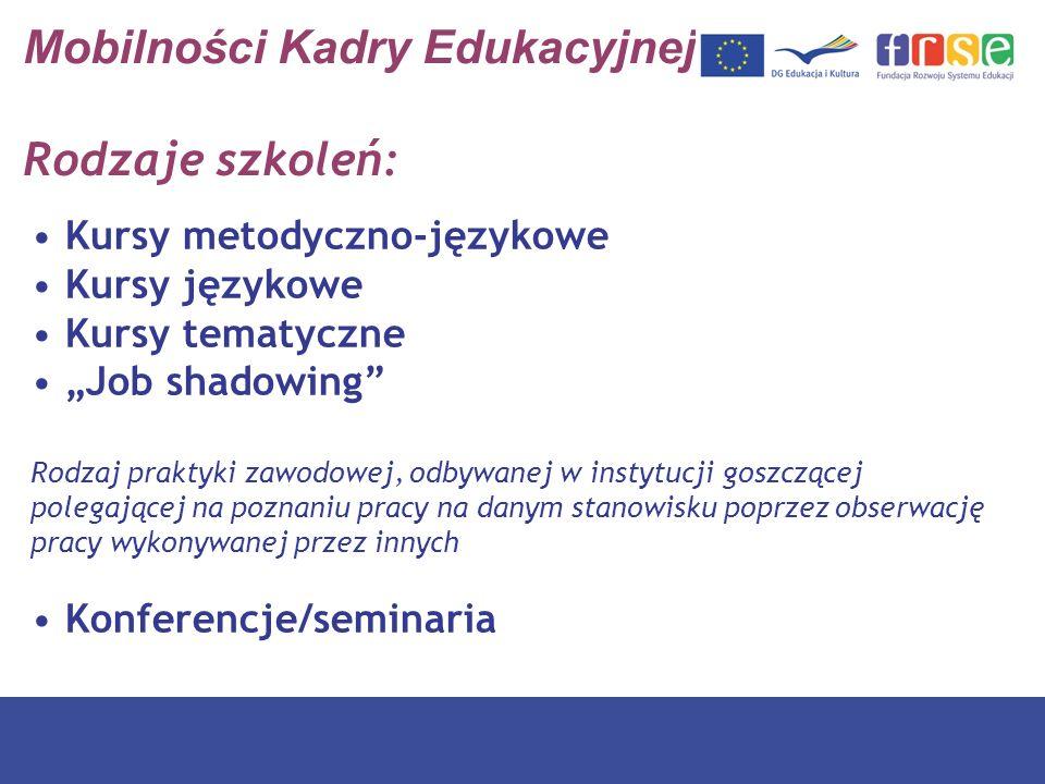 Mobilności Kadry Edukacyjnej Rodzaje szkoleń: Kursy metodyczno-językowe Kursy językowe Kursy tematyczne Job shadowing Rodzaj praktyki zawodowej, odbyw