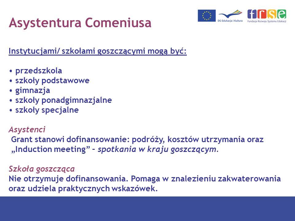 Asystentura Comeniusa Instytucjami/ szkołami goszczącymi mogą być: przedszkola szkoły podstawowe gimnazja szkoły ponadgimnazjalne szkoły specjalne Asy