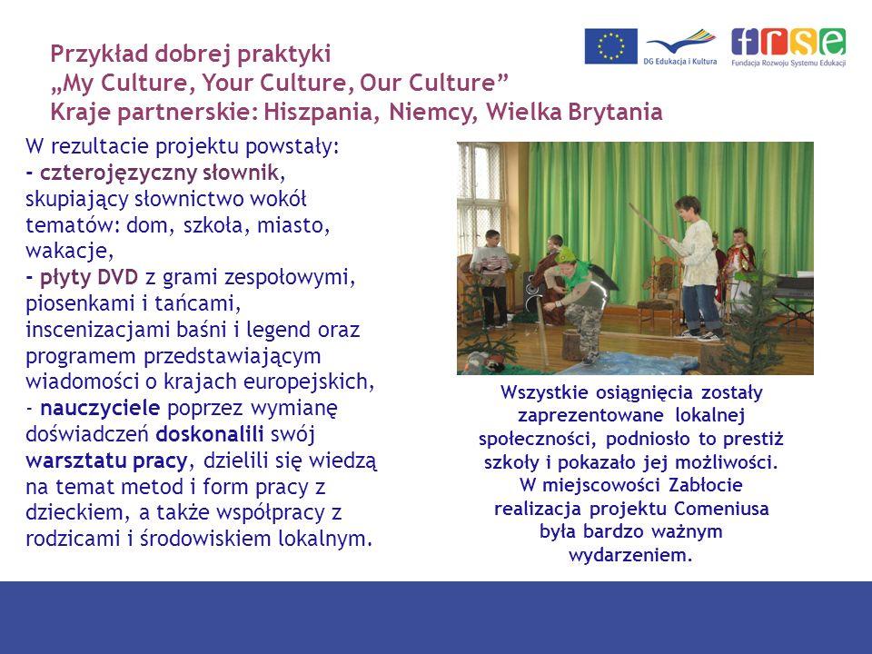 Przykład dobrej praktyki My Culture, Your Culture, Our Culture Kraje partnerskie: Hiszpania, Niemcy, Wielka Brytania W rezultacie projektu powstały: -