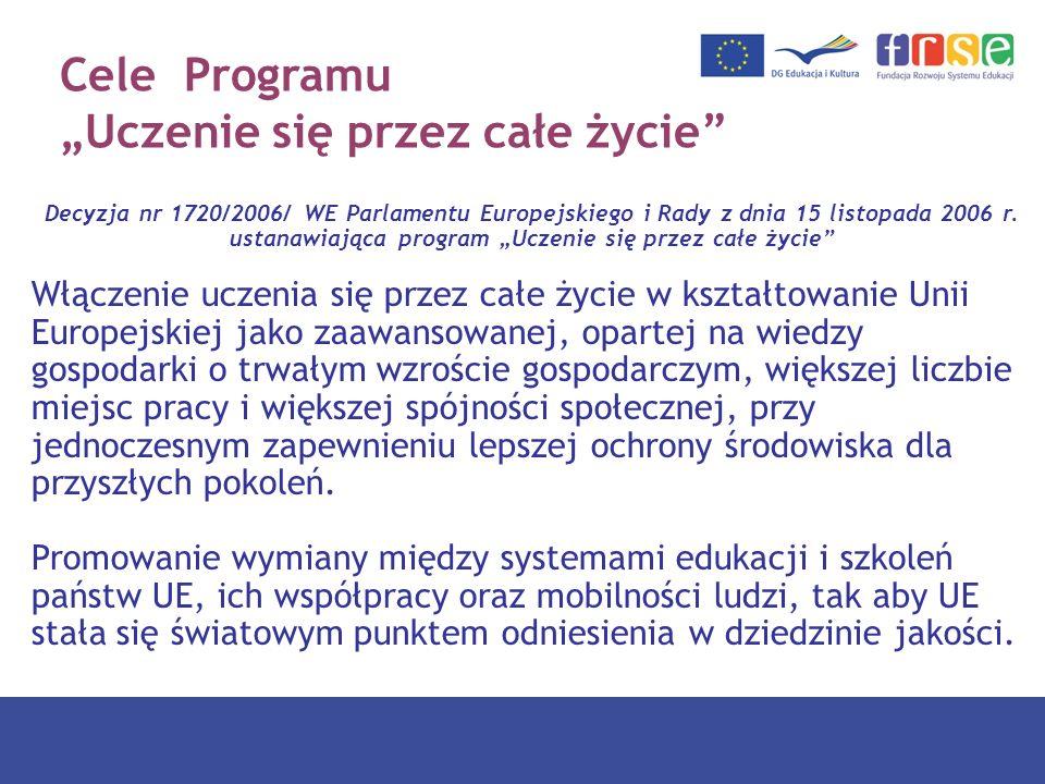 Cele programu Rozwój kształcenia na wysokim poziomie Realizacja europejskiego obszaru uczenia się przez całe życie Poprawa jakości, atrakcyjności i dostępności ofert edukacyjnych Wkład programu w spójność społeczną, aktywne obywatelstwo, dialog międzykulturowy, równość szans Wspieranie kreatywności, konkurencyjności, zwiększanie szans na zatrudnienie