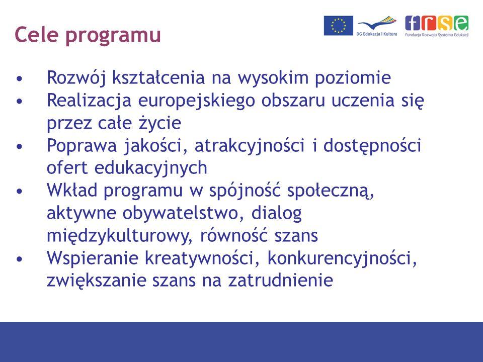 Cele programu Zwiększanie uczestnictwa w procesie kształcenia osób w każdym wieku oraz grup defaworyzowanych Propagowanie nauki języków obcych i różnorodności językowej Wspieranie opartych na ICT treści i metod uczenia się Współpraca w zapewnianiu wysokiej jakości edukacji i szkoleń w Europie Wspieranie innowacyjności i wymiany dobrych praktyk w dziedzinach objętych programem LLP