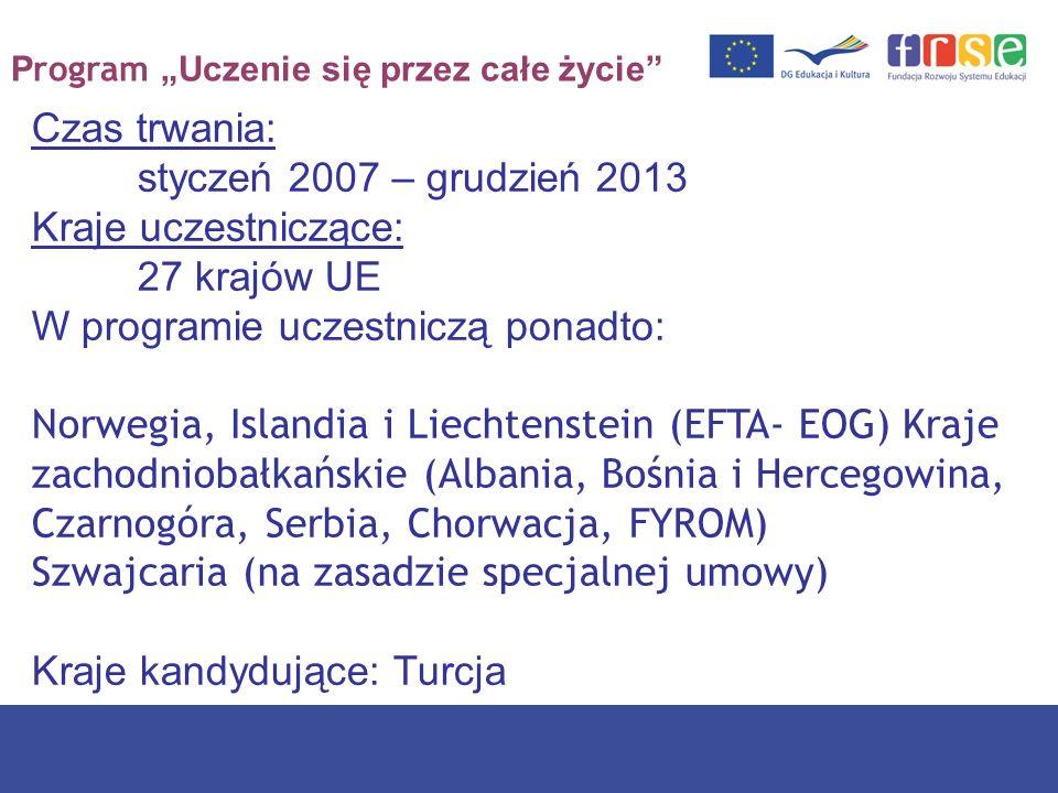 P rogram Uczenie się przez całe życie Czas trwania: styczeń 2007 – grudzień 2013 Kraje uczestniczące: 27 krajów UE W programie uczestniczą ponadto: No