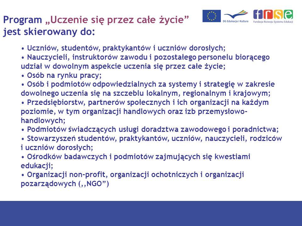 Program Uczenie się przez całe życie - struktura Comenius Edukacja szkolna Erasmus Szkoły wyższe Leonardo da Vinci Szkolnictwo i doskonalenie zawodowe Grundtvig Edukacja dorosłych Program międzysektorowy 4 rodzaje aktywności – rozwój polityki edukacyjnej; kształcenie językowe; rozwój nowoczesnych technologii informacyjnych; rozpowszechnianie przykładów najlepszej praktyki Program Jean Monnet 3 rodzaje aktywności – Akcja Jean Monnet; europejskie instytucje; stowarzyszenia europejskie