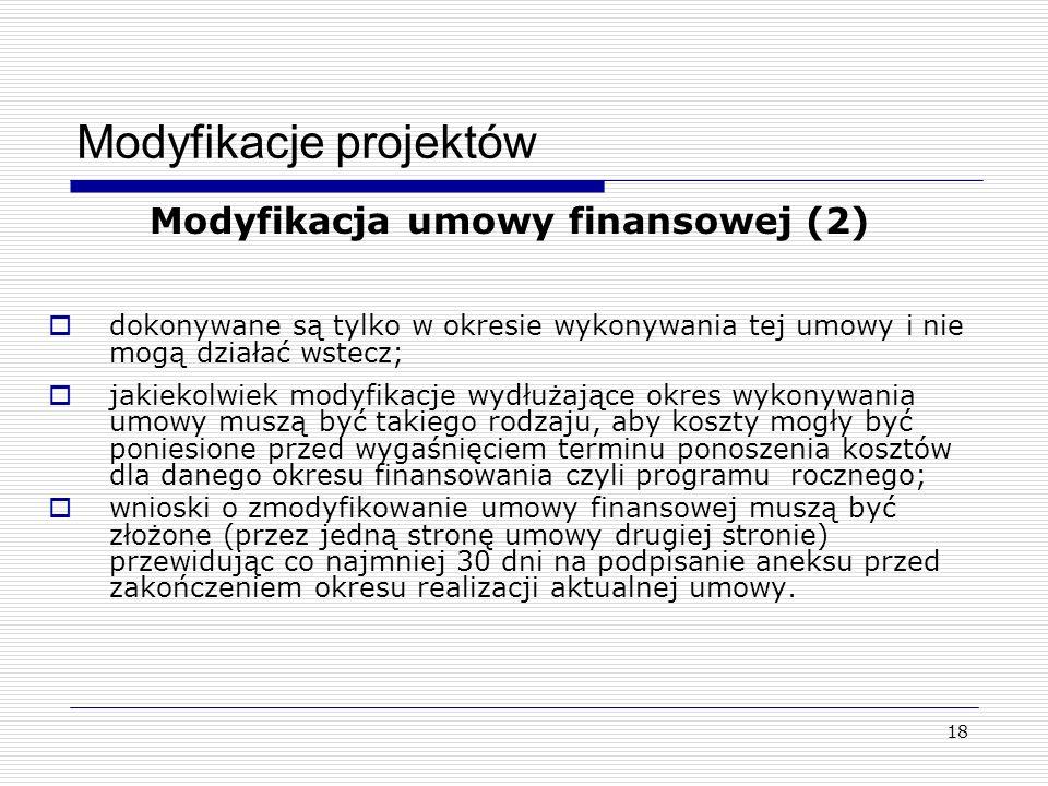 18 Modyfikacje projektów Modyfikacja umowy finansowej (2) dokonywane są tylko w okresie wykonywania tej umowy i nie mogą działać wstecz; jakiekolwiek modyfikacje wydłużające okres wykonywania umowy muszą być takiego rodzaju, aby koszty mogły być poniesione przed wygaśnięciem terminu ponoszenia kosztów dla danego okresu finansowania czyli programu rocznego; wnioski o zmodyfikowanie umowy finansowej muszą być złożone (przez jedną stronę umowy drugiej stronie) przewidując co najmniej 30 dni na podpisanie aneksu przed zakończeniem okresu realizacji aktualnej umowy.