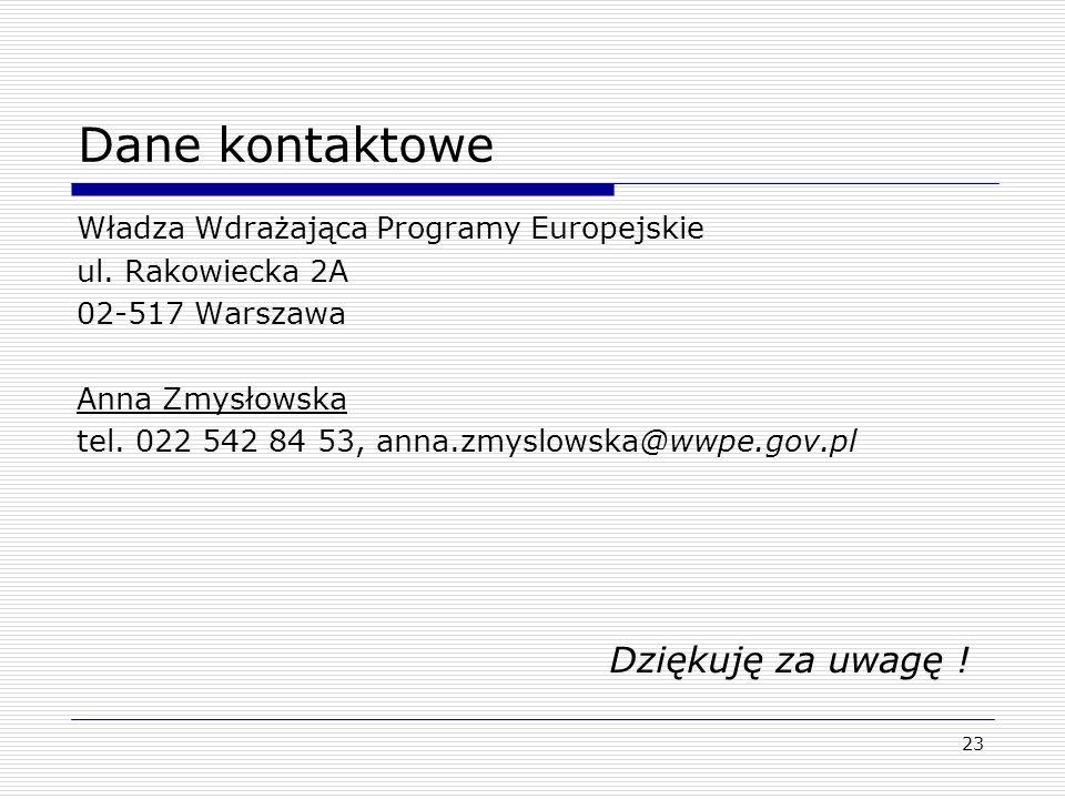 23 Dane kontaktowe Władza Wdrażająca Programy Europejskie ul.