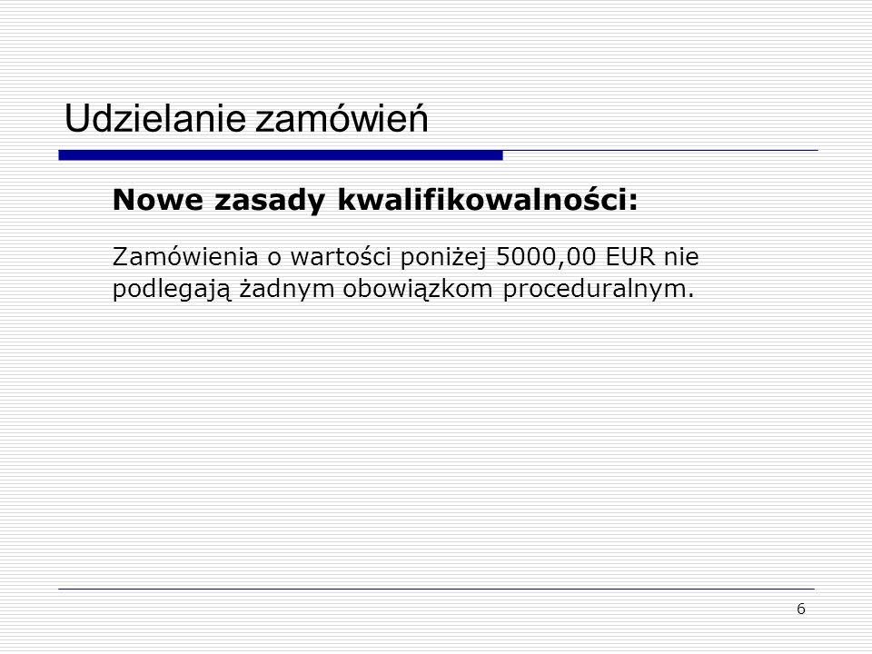Udzielanie zamówień Nowe zasady kwalifikowalności: Zamówienia o wartości poniżej 5000,00 EUR nie podlegają żadnym obowiązkom proceduralnym.
