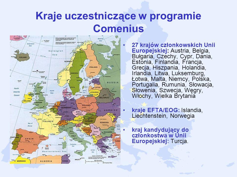 Kraje uczestniczące w programie Comenius 27 krajów członkowskich Unii Europejskiej: Austria, Belgia, Bułgaria, Czechy, Cypr, Dania, Estonia, Finlandia