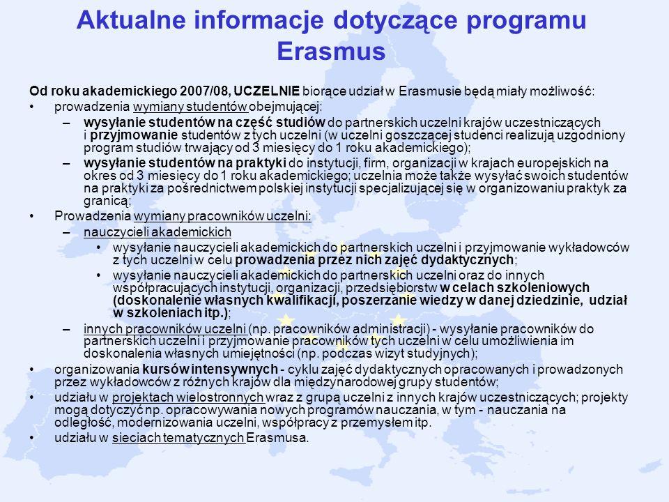 Aktualne informacje dotyczące programu Erasmus Od roku akademickiego 2007/08, UCZELNIE biorące udział w Erasmusie będą miały możliwość: prowadzenia wy