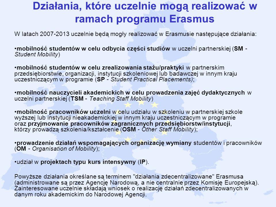 Działania, które uczelnie mogą realizować w ramach programu Erasmus W latach 2007-2013 uczelnie będą mogły realizować w Erasmusie następujące działani
