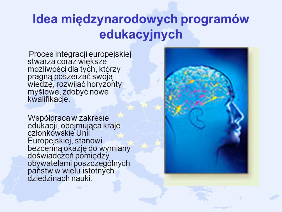 Idea międzynarodowych programów edukacyjnych Proces integracji europejskiej stwarza coraz większe możliwości dla tych, którzy pragną poszerzać swoją w