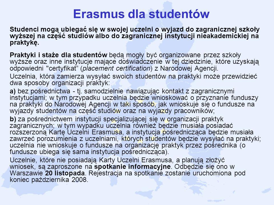 Erasmus dla studentów Studenci mogą ubiegać się w swojej uczelni o wyjazd do zagranicznej szkoły wyższej na część studiów albo do zagranicznej instytu