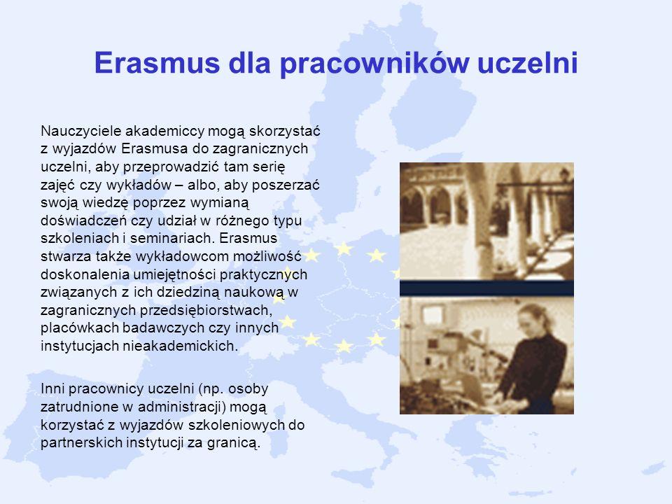 Erasmus dla pracowników uczelni Nauczyciele akademiccy mogą skorzystać z wyjazdów Erasmusa do zagranicznych uczelni, aby przeprowadzić tam serię zajęć