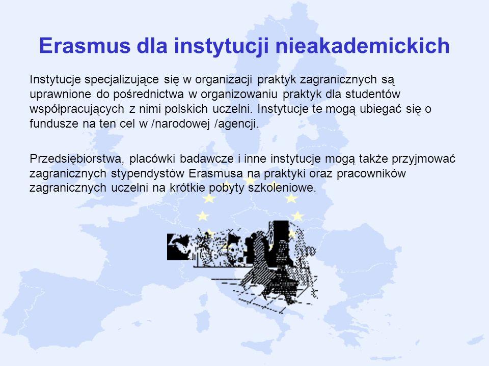 Erasmus dla instytucji nieakademickich Instytucje specjalizujące się w organizacji praktyk zagranicznych są uprawnione do pośrednictwa w organizowaniu
