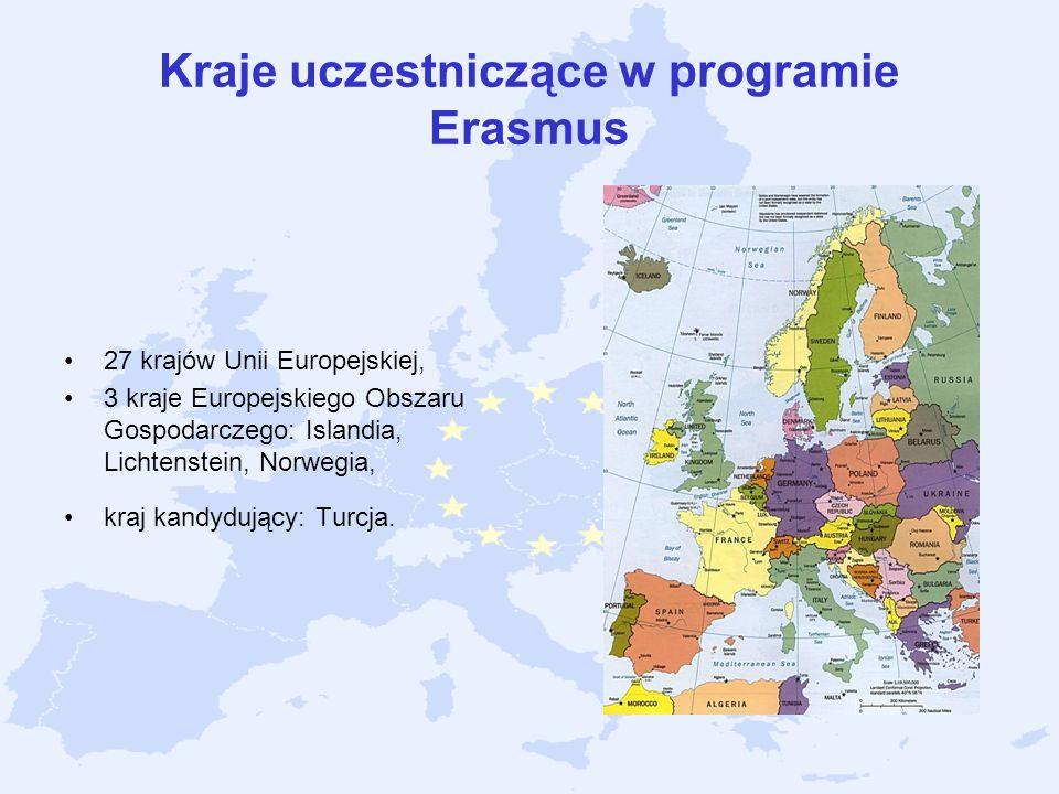 Kraje uczestniczące w programie Erasmus 27 krajów Unii Europejskiej, 3 kraje Europejskiego Obszaru Gospodarczego: Islandia, Lichtenstein, Norwegia, kr