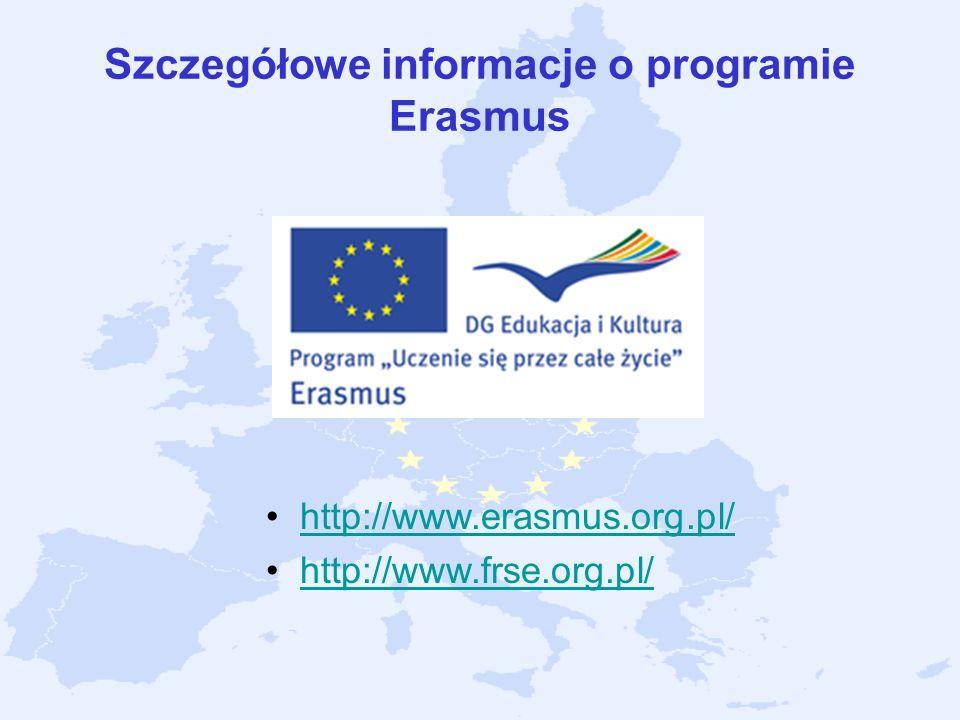 Szczegółowe informacje o programie Erasmus http://www.erasmus.org.pl/ http://www.frse.org.pl/