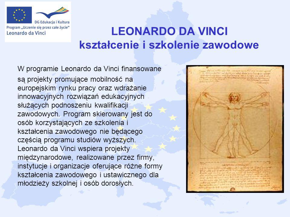 LEONARDO DA VINCI kształcenie i szkolenie zawodowe W programie Leonardo da Vinci finansowane są projekty promujące mobilność na europejskim rynku prac