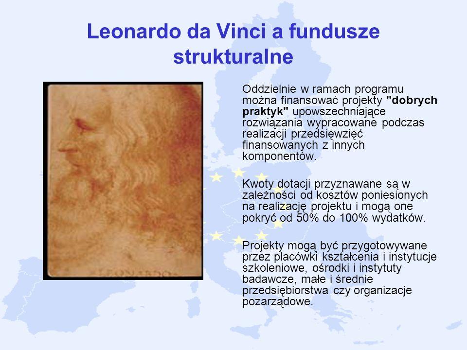 Leonardo da Vinci a fundusze strukturalne Oddzielnie w ramach programu można finansować projekty