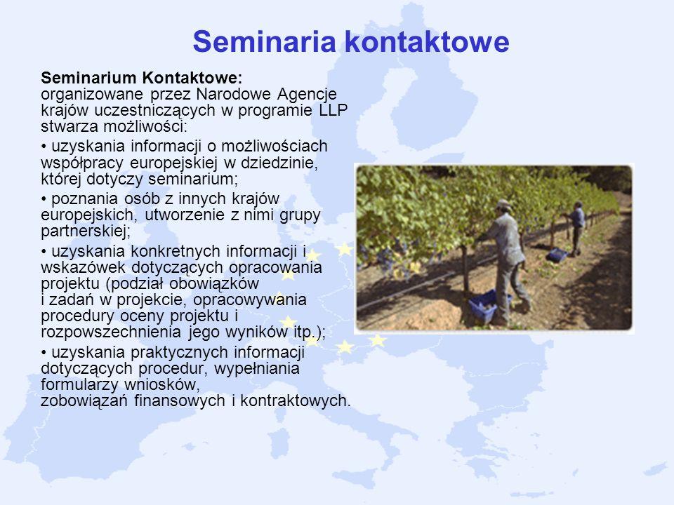 Seminaria kontaktowe Seminarium Kontaktowe: organizowane przez Narodowe Agencje krajów uczestniczących w programie LLP stwarza możliwości: uzyskania i