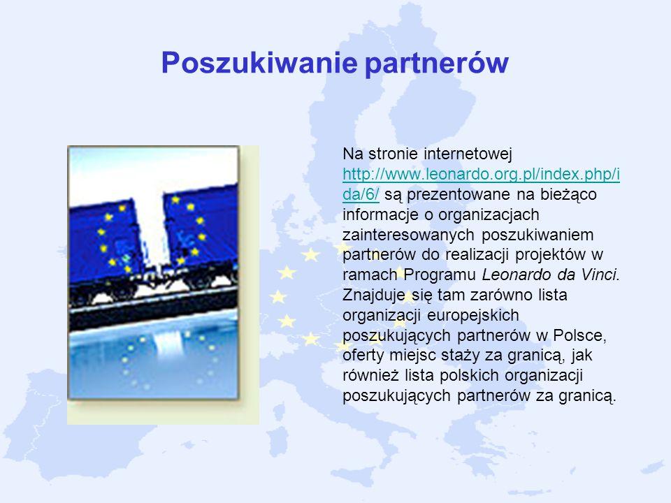 Poszukiwanie partnerów Na stronie internetowej http://www.leonardo.org.pl/index.php/i da/6/ są prezentowane na bieżąco informacje o organizacjach zain