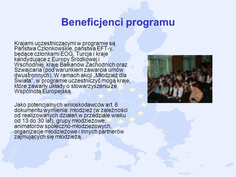 Beneficjenci programu Krajami uczestniczącymi w programie są Państwa Członkowskie, państwa EFT-y, będące członkami EOG, Turcja i kraje kandydujące z E