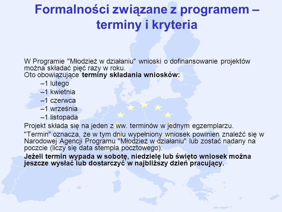 Formalności związane z programem – terminy i kryteria W Programie