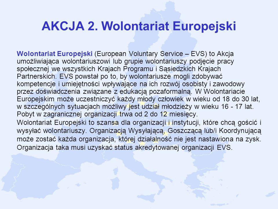 AKCJA 2. Wolontariat Europejski Wolontariat Europejski (European Voluntary Service – EVS) to Akcja umożliwiająca wolontariuszowi lub grupie wolontariu