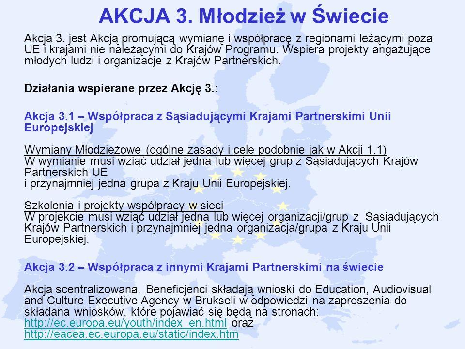 AKCJA 3. Młodzież w Świecie Akcja 3. jest Akcją promującą wymianę i współpracę z regionami leżącymi poza UE i krajami nie należącymi do Krajów Program