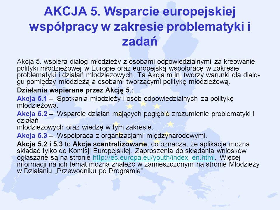AKCJA 5. Wsparcie europejskiej współpracy w zakresie problematyki i zadań Akcja 5. wspiera dialog młodzieży z osobami odpowiedzialnymi za kreowanie po