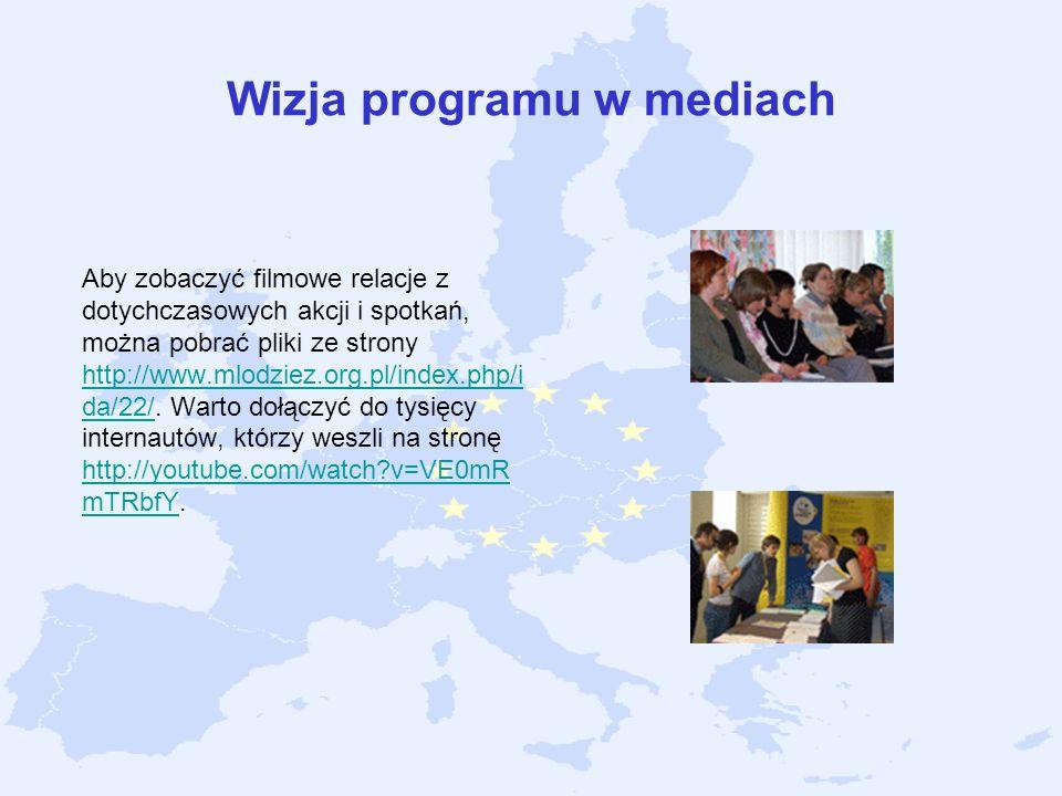 Wizja programu w mediach Aby zobaczyć filmowe relacje z dotychczasowych akcji i spotkań, można pobrać pliki ze strony http://www.mlodziez.org.pl/index
