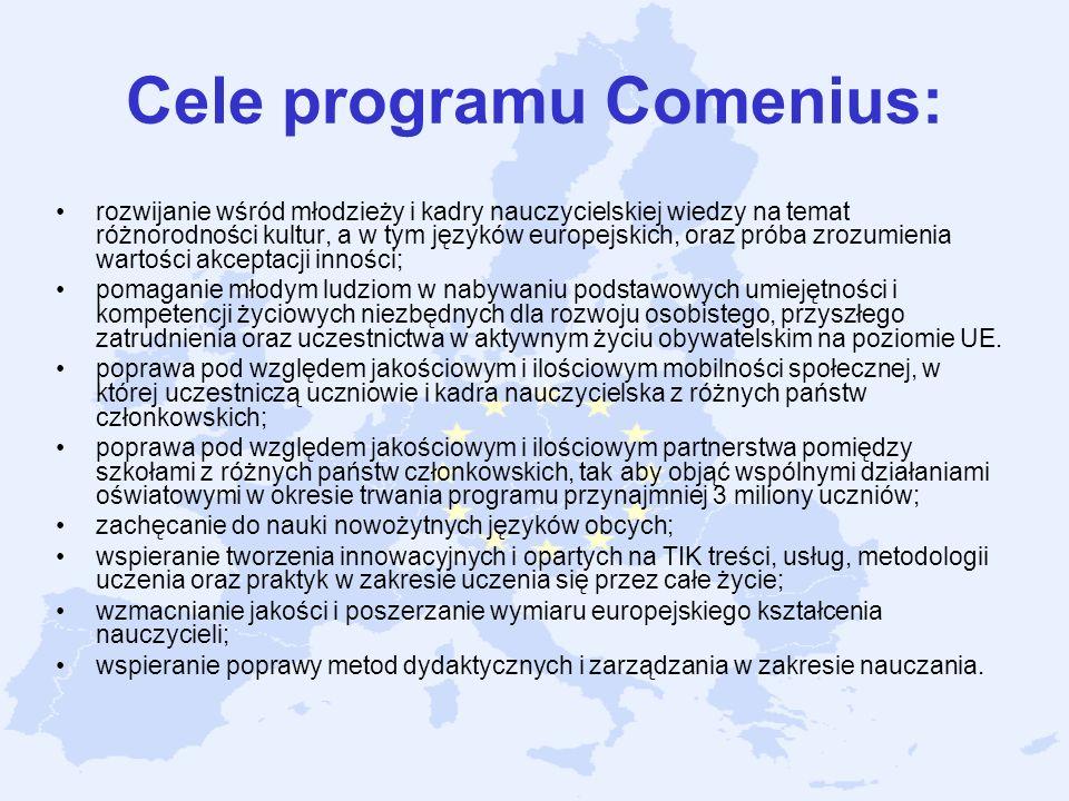 Cele programu Comenius: rozwijanie wśród młodzieży i kadry nauczycielskiej wiedzy na temat różnorodności kultur, a w tym języków europejskich, oraz pr