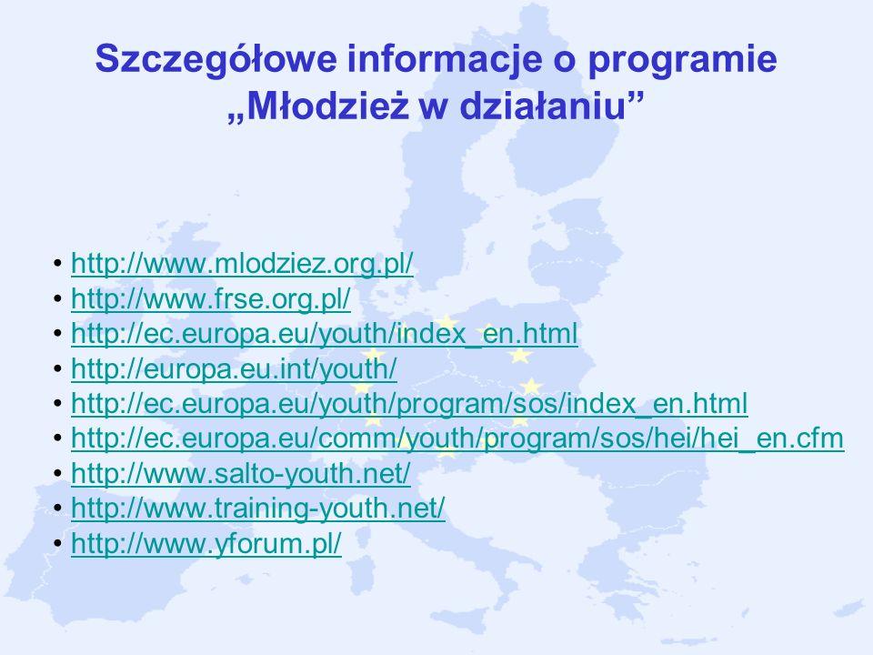 Szczegółowe informacje o programie Młodzież w działaniu http://www.mlodziez.org.pl/ http://www.frse.org.pl/ http://ec.europa.eu/youth/index_en.html ht