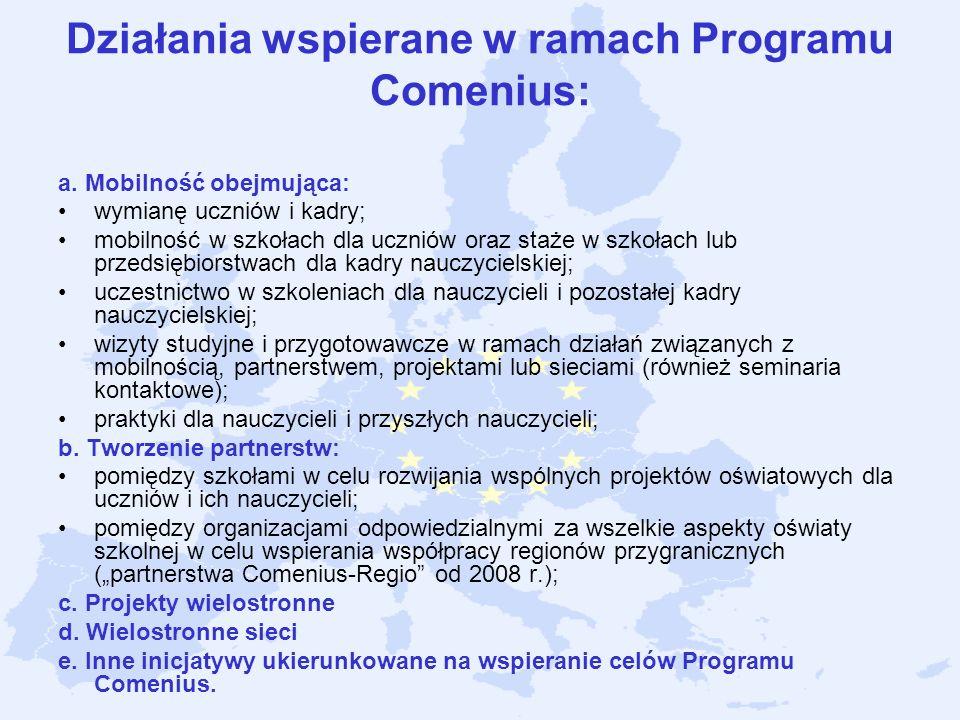 Działania wspierane w ramach Programu Comenius: a. Mobilność obejmująca: wymianę uczniów i kadry; mobilność w szkołach dla uczniów oraz staże w szkoła