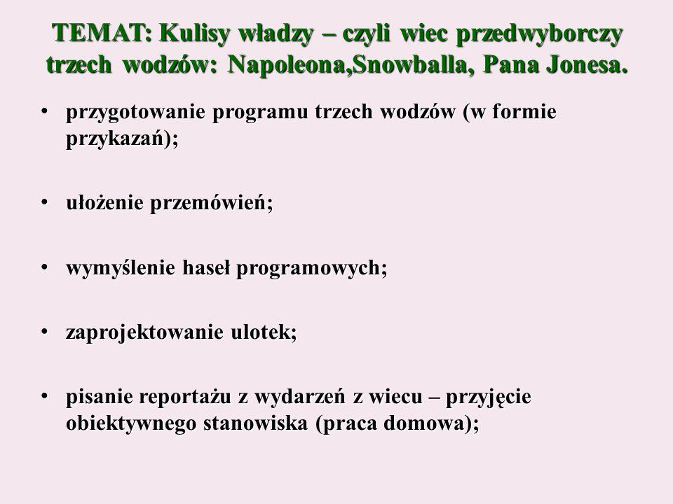 przygotowanie programu trzech wodzów (w formie przykazań); przygotowanie programu trzech wodzów (w formie przykazań); ułożenie przemówień; ułożenie przemówień; wymyślenie haseł programowych; wymyślenie haseł programowych; zaprojektowanie ulotek; zaprojektowanie ulotek; pisanie reportażu z wydarzeń z wiecu – przyjęcie obiektywnego stanowiska (praca domowa); pisanie reportażu z wydarzeń z wiecu – przyjęcie obiektywnego stanowiska (praca domowa);