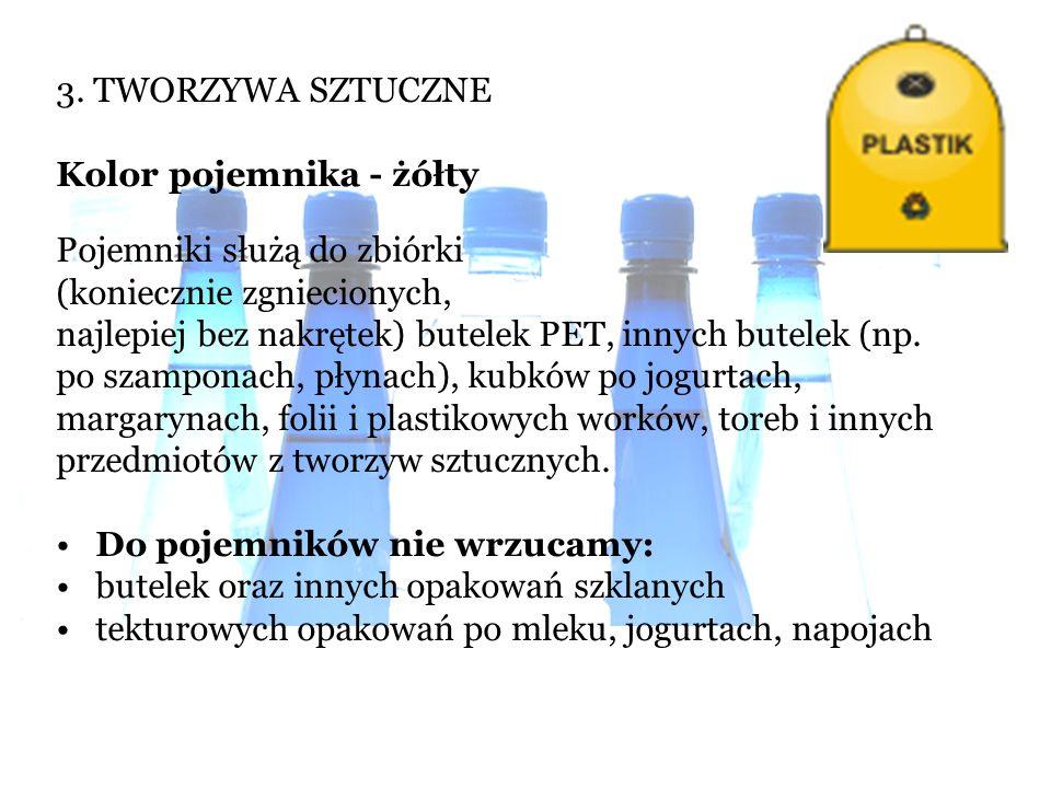 3. TWORZYWA SZTUCZNE Kolor pojemnika - żółty Pojemniki służą do zbiórki (koniecznie zgniecionych, najlepiej bez nakrętek) butelek PET, innych butelek