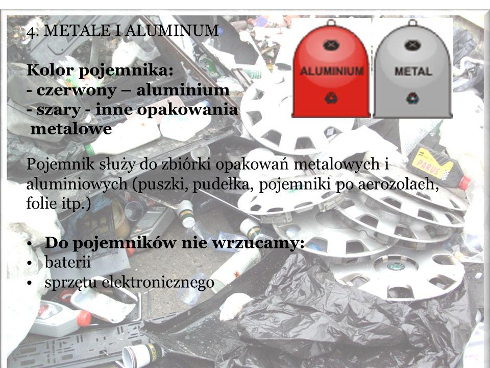 4. METALE I ALUMINUM Kolor pojemnika: - czerwony – aluminium - szary - inne opakowania metalowe Pojemnik służy do zbiórki opakowań metalowych i alumin