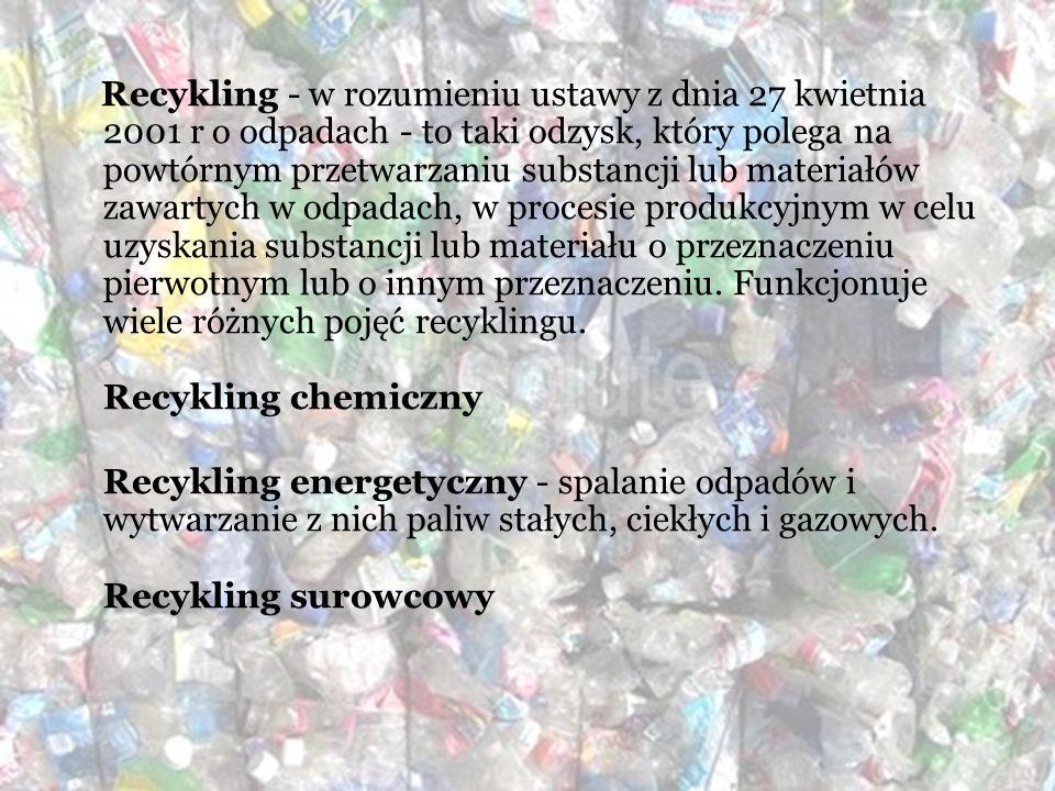 Recykling - w rozumieniu ustawy z dnia 27 kwietnia 2001 r o odpadach - to taki odzysk, który polega na powtórnym przetwarzaniu substancji lub materiał