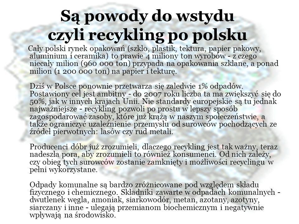 Są powody do wstydu czyli recykling po polsku Cały polski rynek opakowań (szkło, plastik, tektura, papier pakowy, aluminium i ceramika) to prawie 4 mi