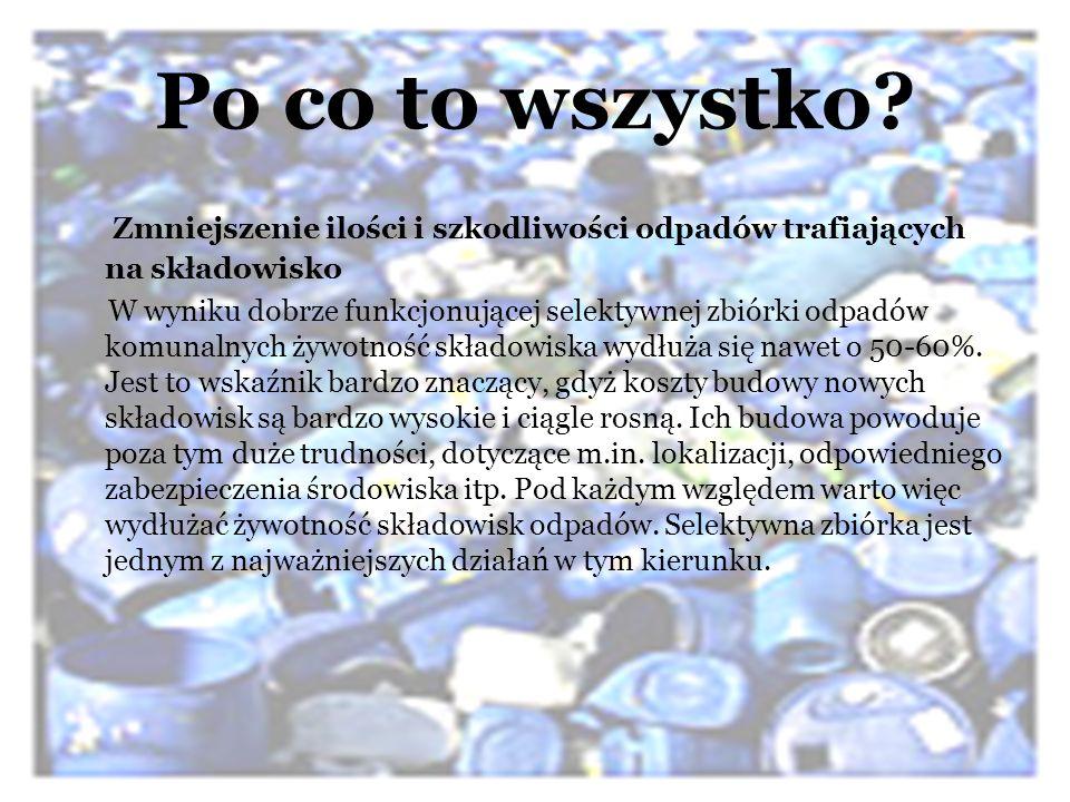 Po co to wszystko? Zmniejszenie ilości i szkodliwości odpadów trafiających na składowisko W wyniku dobrze funkcjonującej selektywnej zbiórki odpadów k