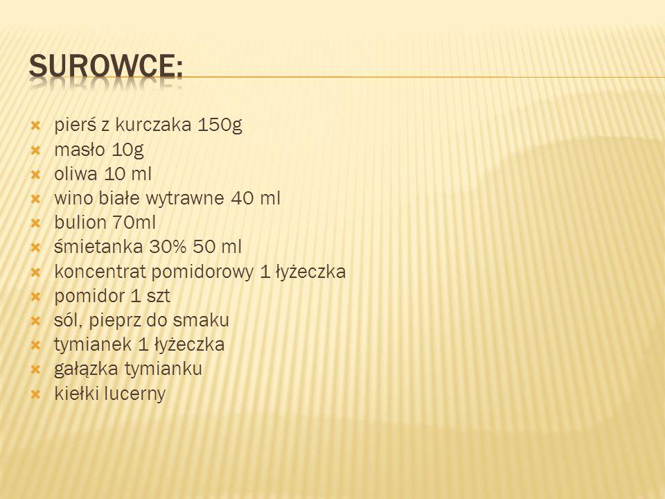pierś z kurczaka 150g masło 10g oliwa 10 ml wino białe wytrawne 40 ml bulion 70ml śmietanka 30% 50 ml koncentrat pomidorowy 1 łyżeczka pomidor 1 szt sól, pieprz do smaku tymianek 1 łyżeczka gałązka tymianku kiełki lucerny