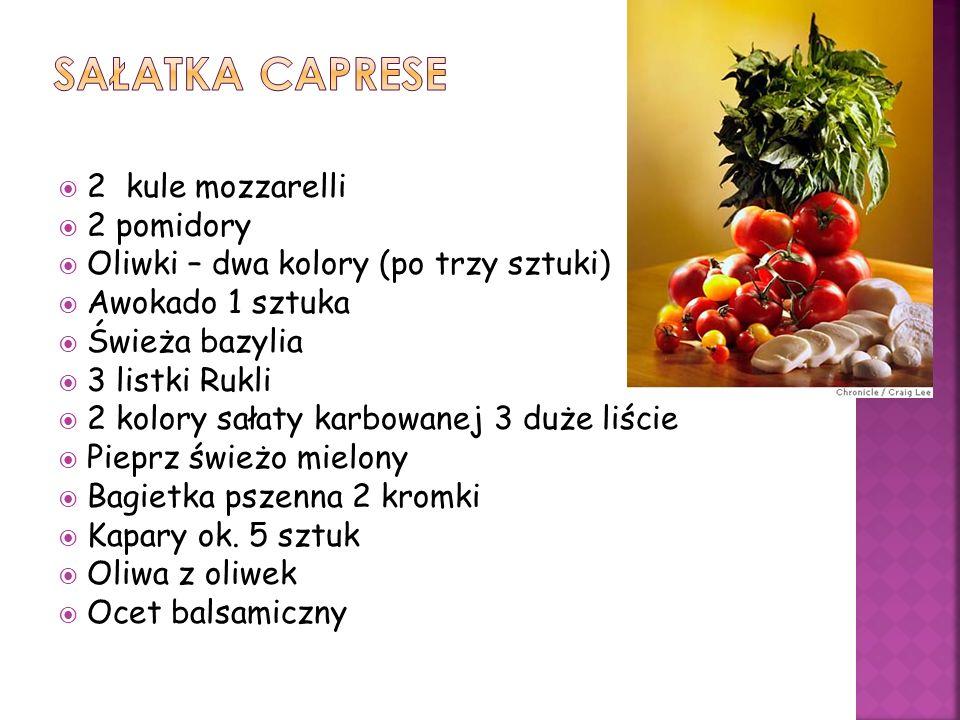 2 kule mozzarelli 2 pomidory Oliwki – dwa kolory (po trzy sztuki) Awokado 1 sztuka Świeża bazylia 3 listki Rukli 2 kolory sałaty karbowanej 3 duże liś