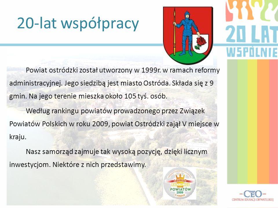 Powiat ostródzki został utworzony w 1999r. w ramach reformy administracyjnej. Jego siedzibą jest miasto Ostróda. Składa się z 9 gmin. Na jego terenie