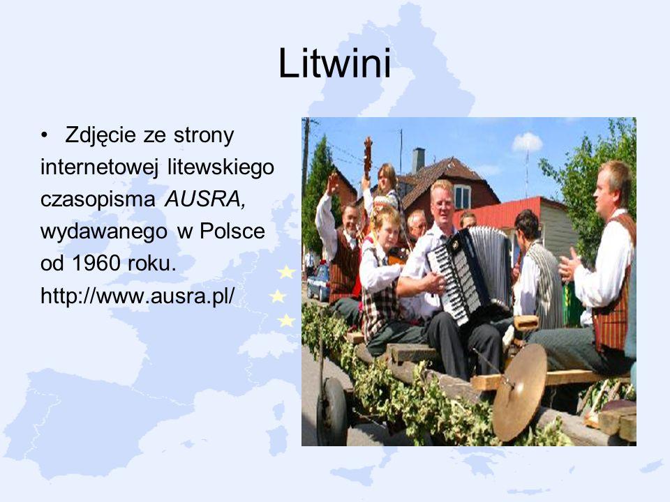 Litwini Zdjęcie ze strony internetowej litewskiego czasopisma AUSRA, wydawanego w Polsce od 1960 roku. http://www.ausra.pl/