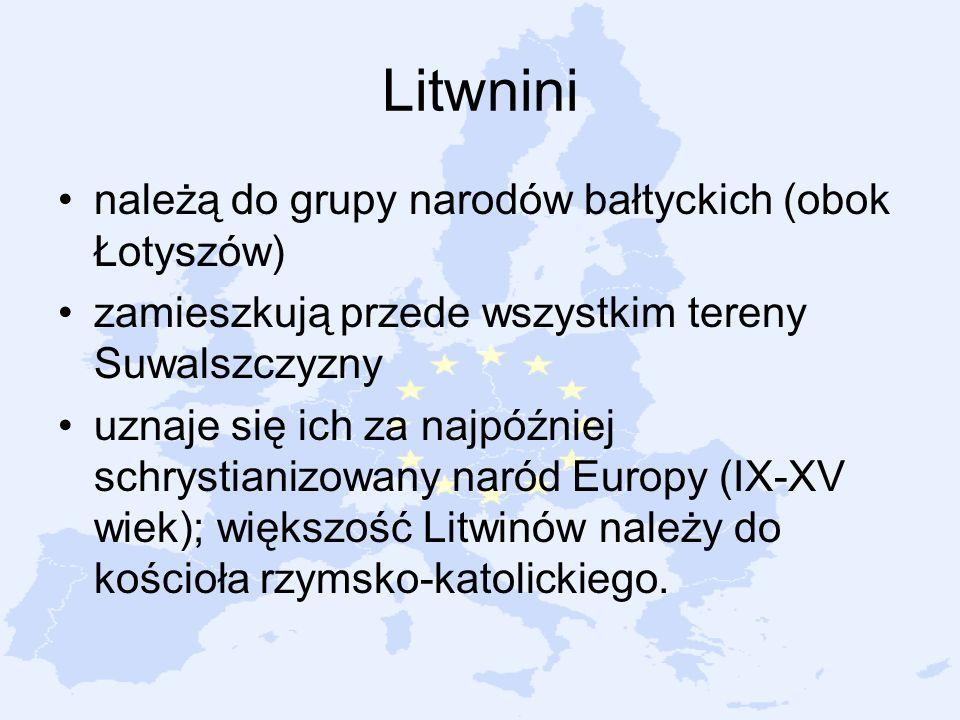 Litwnini należą do grupy narodów bałtyckich (obok Łotyszów) zamieszkują przede wszystkim tereny Suwalszczyzny uznaje się ich za najpóźniej schrystiani