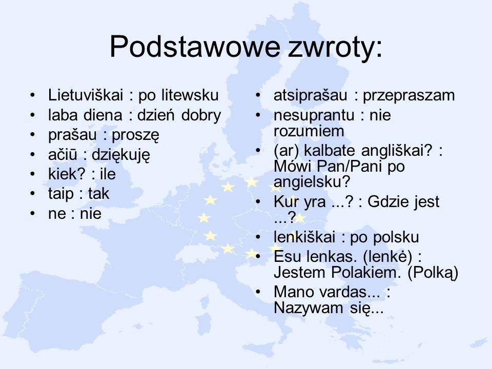 Podstawowe zwroty: Lietuviškai : po litewsku laba diena : dzień dobry prašau : proszę ačiū : dziękuję kiek? : ile taip : tak ne : nie atsiprašau : prz