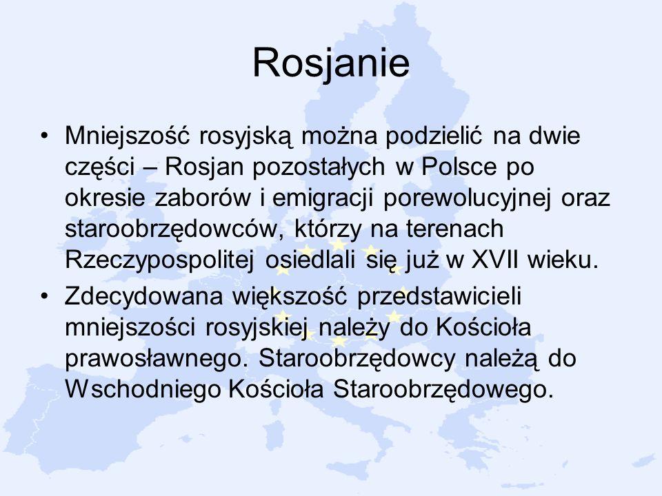 Rosjanie Mniejszość rosyjską można podzielić na dwie części – Rosjan pozostałych w Polsce po okresie zaborów i emigracji porewolucyjnej oraz staroobrz